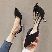 高跟鞋 春季正韓百搭中空包頭涼鞋水鑚法式高跟鞋女細跟尖頭女鞋-Ballet朵朵