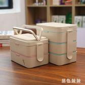 微波爐加熱飯盒專用日式長方形分格便當盒上班族送餐具套裝qf6678【黑色妹妹】