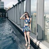 泳衣女保守分體兩 三件套正韓泳裝溫泉遮肚顯瘦小胸聚攏游泳衣