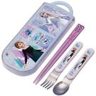 小禮堂 迪士尼 冰雪奇緣 日製 滑蓋三件式餐具組 叉匙筷 兒童餐具 Ag+ (紫) 4973307-51650