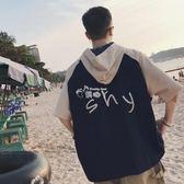 韓版字母印花連帽T恤原宿bf風半截袖潮男短袖學生 俏腳丫