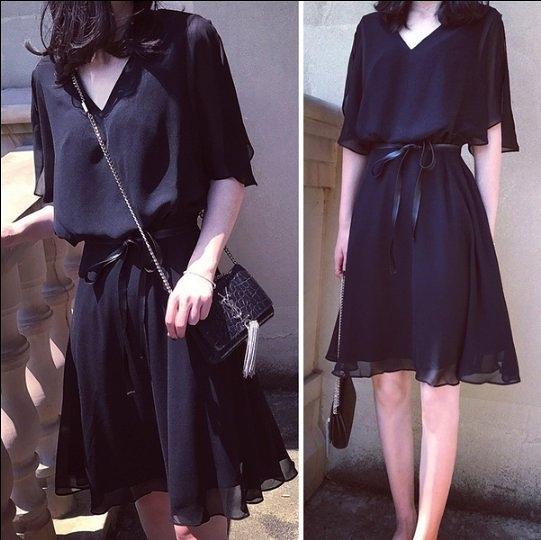 現貨XL.4XL中大尺碼連身裙雪紡短袖中長款顯瘦V領藏肉連衣裙NE35-A.356