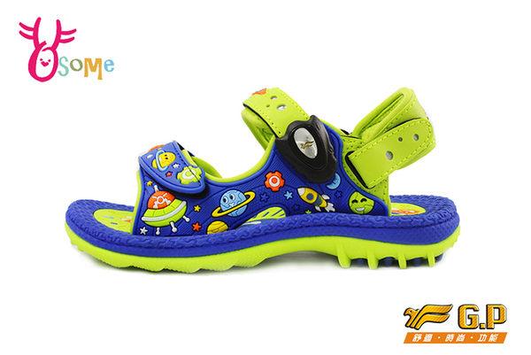 GP涼鞋 中大童 宇宙星球磁扣兩穿足弓防水涼鞋 I6663#藍綠◆OSOME奧森童鞋