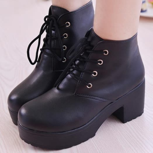 (全館一件免運)DE shop~(W-908-1)韓國進口女鞋stylenanda坡跟粗跟厚底短靴