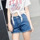 夏季寬鬆休閒牛仔短褲女夏黑白藍色捲邊高腰顯瘦學生韓版百搭闊腿 美芭