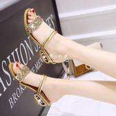 夏季韓版女涼鞋低跟牛筋底防滑大小碼女式拖鞋粗跟兩穿羅馬高跟潮『伊莎公主』