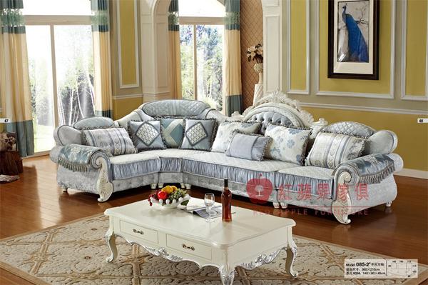 [紅蘋果傢俱] 085 歐式系列 古典 歐式 法式 L型沙發組 布藝 布沙發 椅子 工廠直營