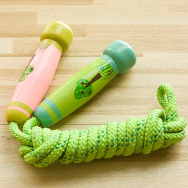 可愛清新小樹綠色兒童跳繩2米繩長可縮短!兒童運動木制玩具【時尚家居館】