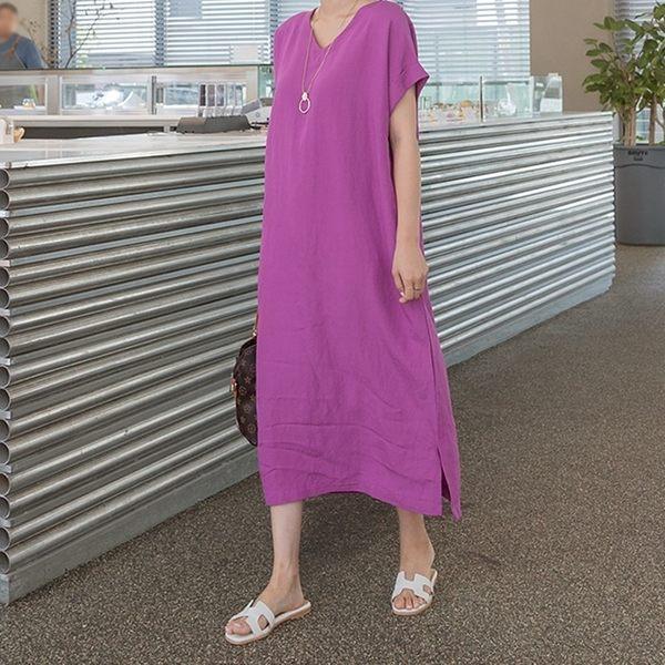 正韓 棉麻V領開衩擺短袖洋裝 (3342302) 預購