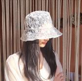 蕾絲刺繡漁夫帽子女夏薄款韓范百搭花朵遮陽帽鏤空防曬太陽帽