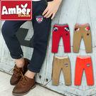Amber  長褲  褲子  休閒長褲  男童  盾牌  格子