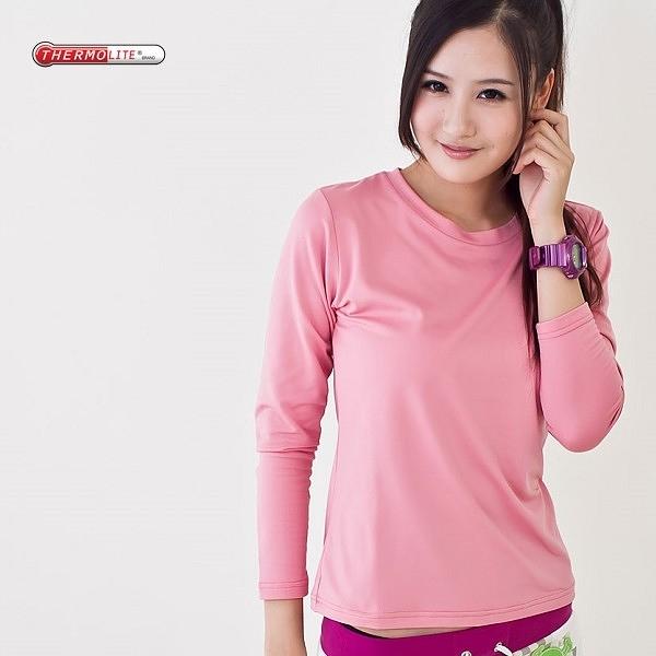 杜邦專利中空紗 發熱衣 保暖衣 輕量 升溫 運動保暖 吸濕排汗 女款圓領 粉色