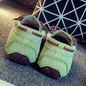 瞌睡豆內外真皮豆豆鞋女大碼休閒學生單鞋平底護士鞋媽媽鞋吾本良品