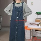 秋季初戀裙子寬松藍色無袖連身裙小個子牛仔背帶裙【CH伊諾】