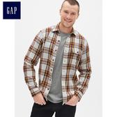 Gap男裝 竹節紋棉質格紋法蘭絨長袖襯衫 490390-藍金方格