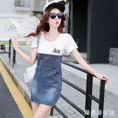 中大尺碼夏新款韓版牛仔洋裝女學生顯瘦大碼寬鬆拼接短袖t恤中裙 EY4540『樂愛居家館』