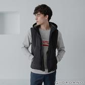 【GIORDANO】男裝素色拉鍊款連帽鋪棉背心 - 01 標誌黑