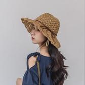 韓版度假草帽女日繫百搭沙灘漁夫帽防曬遮陽帽小清新蕾絲繫帶帽子