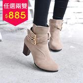 丁果、大尺碼女鞋35-42►時尚雙扣帶高跟短靴*2色全新現貨供應