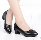 媽媽鞋 佳人紅蜻蜓媽媽鞋春秋款單鞋真皮軟底粗跟女鞋舒適中老年女鞋中跟