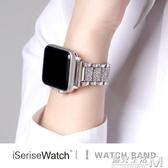 適用于applewatch4蘋果手錶3代五代iwatch5錶帶小香風金屬錬式 遇見生活