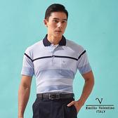 【Emilio Valentino】樂活機能層次橫紋POLO衫 - 藍
