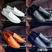 2019秋季新款男士休閒皮鞋男鞋子一腳蹬豆豆鞋套腳懶人鞋透氣單鞋『艾麗花園』