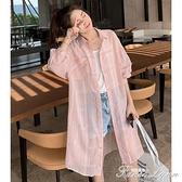 2021夏季新款洋氣中長款寬鬆長袖防曬衣服女百搭薄外套格子防曬衫 范思蓮恩