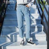 牛仔褲秋冬加絨加厚直筒牛仔褲女寬鬆正韓學生高腰bf九分顯瘦闊腿褲奈斯女裝