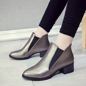 2018秋季新款韓版休閒中跟鞋子粗跟尖頭短靴子馬丁靴百搭秋款女鞋 美芭