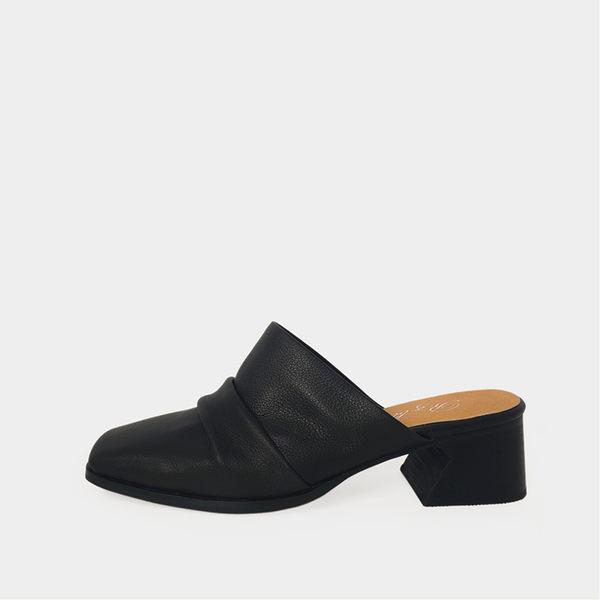 R&BB真皮牛皮休閒鞋-柔軟抓皺穆勒鞋百搭方頭低跟-黑色