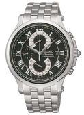 【廣告款】SEIKO Premier 紳士品味雙逆跳計時腕錶-黑面 (7T85-0AC0D)
