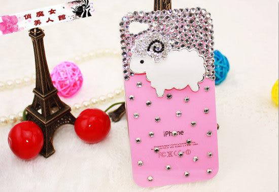 ♥ 俏魔女美人館 ♥ {手工水鑽小綿羊} iphone4/4S /5 手機殼