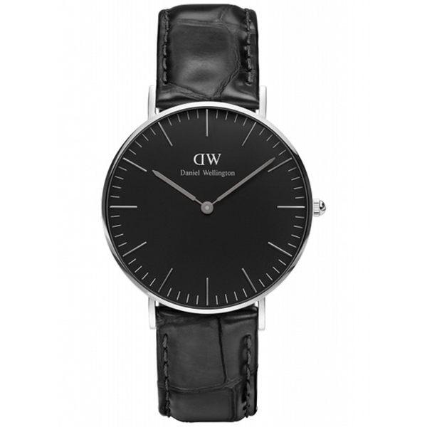 【公司貨】Daniel Wellington DW 瑞典簡約風格 36mm /    壓紋黑色/銀框  / DW00100147