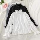 早春新款立领荷叶边衬衣设计感灯笼袖白色衬衫韩版减龄上衣女