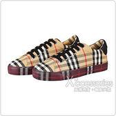 BURBERRY黑字LOGO格紋帆布運動鞋(米)