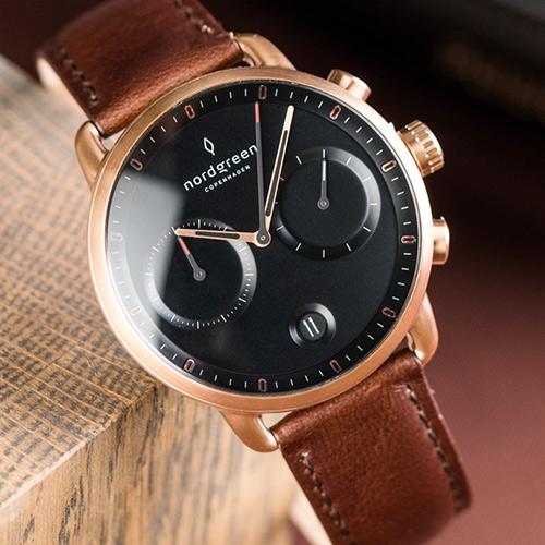 Nordgreen 42mm 深棕真皮錶帶 Pioneer先鋒 北歐設計師手錶 藍寶石鏡面 計時碼錶 玫瑰金殼 極夜黑錶盤