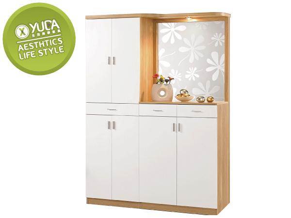 【YUDA】北歐風 羅德尼 PU塗裝 鋼印木紋 多元 現代 4.7尺 鞋櫃/玄關櫃/雙面櫃 J0M 321-1
