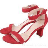 Stuart Weitzman PARTNUDTIZ 紅色麂皮一字繫踝高跟涼鞋 1830542-54