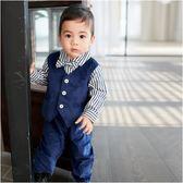 長袖連身衣 條紋 紳士造型 假三件 男寶寶 爬服 哈衣 小紳士 小花童 Augelute Baby 70108
