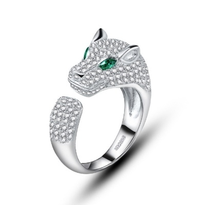 戒指 925純銀 鑲鑽-金錢豹造型生日情人節禮物女飾品73dx79【時尚巴黎】