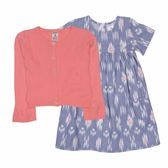 Carter s 長袖洋裝套裝 針織外套+短袖洋裝連身裙+內褲三件組藍 女寶寶【CA121G886】