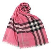 BURBERRY經典格紋羊毛絲綢圍巾(玫瑰粉)089513-6