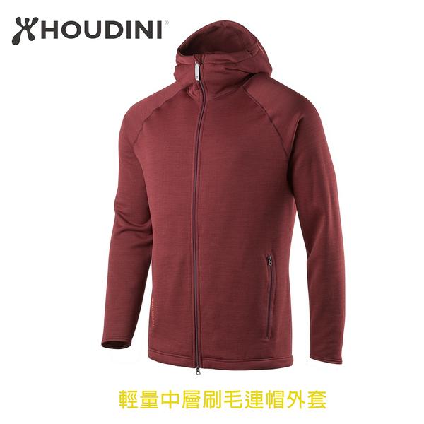 [瑞典  HOUDINI ] M's Outright Houdi 輕量中層刷毛連帽外套 男款 (叛逆紅)