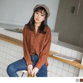 《AB5723》純色磨毛手感寬鬆V領襯衫 OrangeBear