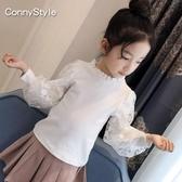 長袖T恤—女童秋裝新款洋氣童裝兒童長袖T恤泡泡袖中大童蕾絲白色上衣