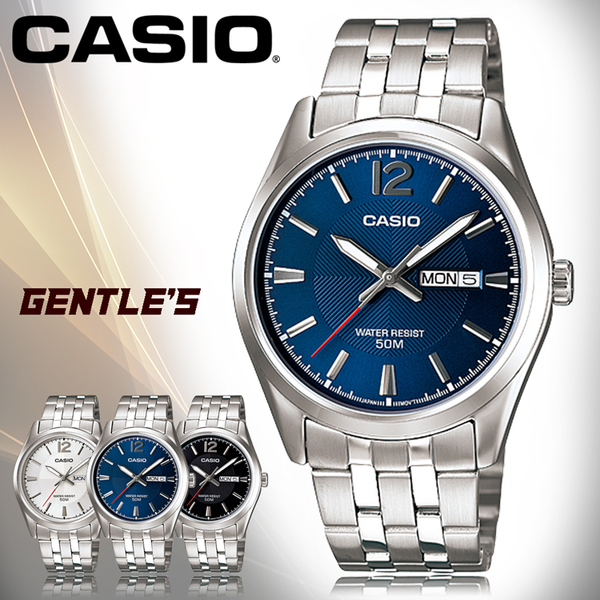 CASIO 卡西歐 手錶專賣店 MTP-1335D-2A VDF 男錶 指針錶 不鏽鋼錶帶 日期/星期顯示 防水 全新