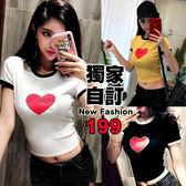 克妹Ke-Mei【AT51363】獨家,愛死了!LOVE愛心字母棒球T恤上衣