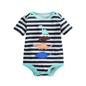 恐龍棉質貼布短袖連身包屁衣 短袖 信封領 橘魔法Baby magic 現貨 新生兒 嬰兒