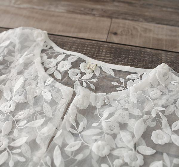 東京奈奈日系短袖蕾絲刺繡甜美連身裙[j48041]